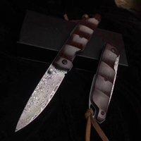 Glicínia damasco dobrável faca de lâmina alta dureza mola punho de madeira lâmina bolso assistida faca de acampamento