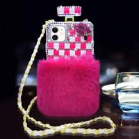 Bling Diamond Crystal Rhinestone Defume Bottle Phone Custodie del telefono con cinturino per iPhone 6 7 8 XR XSMAX 11 12 13 Pro Max Samsung Nota 20