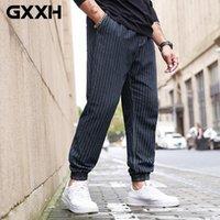 Pantaloni da uomo GXXH 2021 Autumn Striped Men Casual Streetwear Pantaloni 100% cotone Elastic Waist Jogger Plus Size XXXXL 5XL 6XL