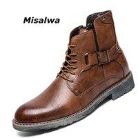 A sapata dos homens Misalwa Retro tornozelo Vestido Bota High Top Oxford segurança do homem do russo Estilo Zipper Anti-derrapante Couro Tactical Botas 201019
