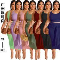 Дизайнер 2021 Платья Платья Платья Сексуальная Повязка Плюс Размер Повседневная Женщина Два Части Костюм Одежда Женская Женщина для моделей XL-5XL