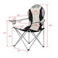 WACO draagbare camping wandelen vouwen stoel, tuinmeubilair ijzeren pijp Oxford doek buitenzak, vissersstoel zwart en grijs laden 330 lbs