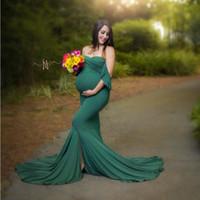 Sirena Maternidad Vestidos de algodón Foto Sesión Embarazada Mujeres Sexy Sin huelle Embarazo Bebé Ducha Fotografía Props Ropa LJ201114