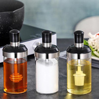 Seasoning Jars Oil Brush Honey Container Storage Container Glass Seasoning Tank Kitchen Spice Kit Bottles Pepper Spoon