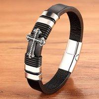Charm en acier inoxydable Corde Tressé magnétique Argent Or Noir Couleur cuir Croix Bracelets Hommes Bijoux Bracelets jesus
