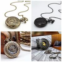 Neue große Blei Black Gold Face Römische Taschenuhr Quarz 47mm Halskette Retro Schmuck Großhandel Koreanische Ausgabe Steampunk Hängende Uhr