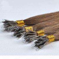 VMAE 50G Königin unverarbeitete natürliche blonde braune rohe jungfrau gerades Haarteil doppelt gezogene Stickspitze Nano Ring menschliche Haarverlängerungen