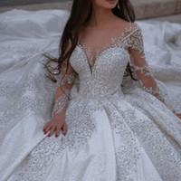Una línea Crystal Vestidos de novia con cuello de encaje de encaje manga larga vestidos nupciales elegante vestido de novia Robes de Mariée