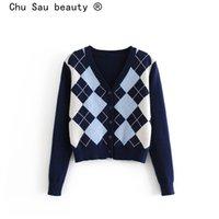 Chu Sau Beauty Automne Hiver Wear Office Lady Chic Plaid imprimé Pulls lâches Femmes Cardigans Cardigans Élasticité Tops chauds 201202