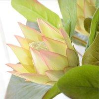 الزهور الزهور أكاليل طويل الجذعية 1 رؤساء الاصطناعي ماغنوليا زهرة فرع للمنزل الزفاف الديكور وهمية حديقة ديكور فلوريس 1