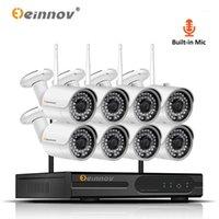 أنظمة Einnov 8CH 1080P نظام كاميرا مراقبة IP WIFI كاميرات الفيديو ل CCTV اللاسلكية الأمن المنزلية مجموعة الصوت HD ONVIF1