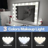 LED 12V Maquillaje Mirror Luz LED Bulbos Hollywood Vanity LED Lights Lámpara de pared regulable 2 6 10 Kit 14Bulbios para tocador LED010