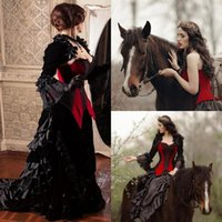 الأميرة الأسود والأحمر فساتين الزفاف القوطية ألف خط مشد العصور الوسطى الفيكتوري steampunk البلد الحبيب الملكة سترة فساتين الزفاف