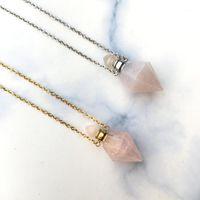 Colar de ponto de cristal rosa facetada, colar rosa, colar de garrafa de perfume, difusor de óleo essencial, pingente de frasco de perfume.1