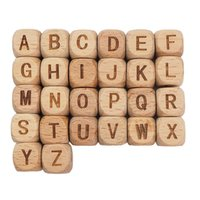 Chenkai 12mm 100 pcs quadrado alfabeto de madeira contas a-z contas de letra para bebê manequim mastalha chupeta chupeta cadeia acessórios y200730