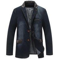 New Denim Automne Veste Casual hommes d'hiver Blazer costumes vestes pour hommes d'affaires Costumes cuir Patchwork Hommes Jeans Manteau M ~ 4XL MY190