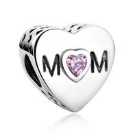 Branelli di fascino della mamma della mamma dell'orowork della mamma di Zircono cubico rosa adatti del braccialetto di fascino di Pandora Accessorio all'ingrosso dell'ingrosso