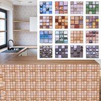 10 pcs 10cm mosaico parede telha impermeável auto adesivo adesivos para casa banheiro PVC telha decalque cozinha adesivo de parede arte decorar
