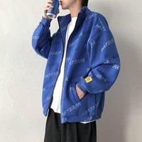 Уюкской Весна куртка Stand Collar Сыпучие Личность мужскими печати Повседневная мода Fancy Пальто HOMBRE Уличная одежда