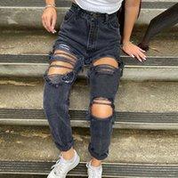 Delik Goth Grunge Estetik Y2K Jeans Kadınlar Punk Sıkıntılı E Kız Denim Pantolon Hippi Yüksek Bel Düz Pantolon W0104