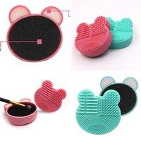 Maquillage de nettoyage Brosse Silicone Bear Forme Éponge Éponge Cosmétiques Colorful Mat Boxes Lady Mini Portable 4 3le G2