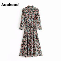 Aachoae Women Chic Floral Print Dress Three Quarter Sleeve Sashes Long Party Dress Casual Turn Down Collar Ladies Shirt DressesA1110