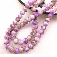 Hot 50 pçs / lote 6x4 / 8x6mm rondelle Áustria Faceted Crystal Glass Beads solto espaçador Beads para jóias fazendo DIY JLlyxn