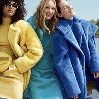 Женский меховой Faux Fionto зимние женские женские охлаждающие шерстяные пальто роскошные длинные свободные отвороты пальто густые теплые плюс размер женские плюшевые пальто