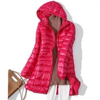 S ~ 7xl donna bianca anatra piumino autunno inverno inverno sottile parka cappotto femminile lungo con cappuccio plus size ultra luce giù tuta sportiva RH21121