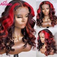 레이스 가발 Burgundy 컬러 흑인 여성을위한 99J 정면 인간의 머리카락 빨간색 털이없는 레미 HD 느슨한 웨이브 투명 가발 딥 파트
