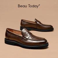 Sapatos de vestido Beautoday Penny Mocassins Homens Genuine Vaca Couro de Couro Padrão Redondo Toe Slip-on Mens Casamento Handmade 550011