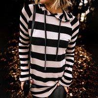 Black White Striped Womens Sweaters Hooded Spring Autumn Bas...