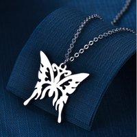 Нержавеющая сталь Сердце Бабочка Ожерелье Животные Полые Кулон Ожерелья Для Женщин Мода Хип Хоп Ювелирные Изделия