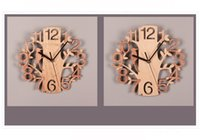 خشبي الطيور ساعة الحائط مزدوجة ستيريو الأزياء الدائرية الخشب الحبوب ساعة الحائط غرفة المعيشة غرفة نوم بلا حدود الديكور المنزل YYF4462