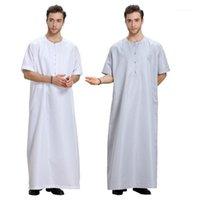 Ethnische Kleidung Herren Roben Muslimische Kleid Kaftan Gedruckt Kurzarm Retro Lose Dubai Saudi-Arabien Abaya Islamische Männer Jubba Thobe1