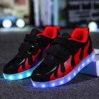 Strongshen Rouge 2018 rose enfants chaussures lumière LED lumineuses chaussures garçons filles sport sport décontracté LED enfants rougeoyant baskets # 2O0W