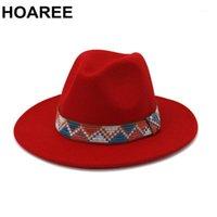Stingy Brim Hats Hoaree Mulheres Vermelhas Lã Vintage Trilby Feltro Fedora Hat largo Elegante Lady Inverno Outono Jazz Caps Sombrero1
