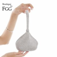 Boutique De FGG Sparkling Silver Diamond Women Mini Evening Clutch Wristlets Bag Bridal Wedding Party Crystal Handbag and Purse Q1106