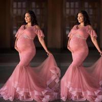 Dusty Pink Sirena Vestidos de fiesta de la maternidad Mangas cortas con cordones en V Cuello de cuello Sash Piso Longitud Formal Vestido Tarde Fiesta de noche Desgaste para embarazadas