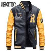 Nueva marca Chaqueta Hombres Bordado Chaquetas de béisbol PU Faux Abrigos de cuero Slim Fit Zipper Casual College Fashion Fleece Coat1