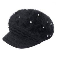 1pcs Fashion Simple Women Warm Solid Solid Addenshi Addenill Soft Wool Hat Maglia antivento Cappellino Berretti Cappello con perle Gorros Mujer Invierno1