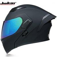 Jiekai Flip Up Motorcycle Casmet Modular Moto Elmet con Sole Inner Visor Sicurezza Doppio lente Racing Full Face Riding Dot Helmets1