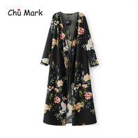Chu Mark Donne Donne Camicette a molla a maniche lunghe Stampa floreale Punto aperto Kimono Femminile Plus Size Shirts Cardigan femminile 9041011