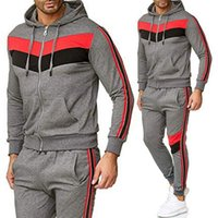 Men' s sets Colorblock Sports Suit Two Pieces Set Men...