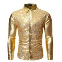Oro Lucido Patchwork Paillettes shirt da Uomo 2020 Marca Slim Fit manica lunga Mens Dress Shirts DJ Club Party fase Prom Chemise Homme