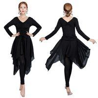 Falda de baile latino Falda de baile latino para mujer de manga larga de manga larga con cuello en V Top + Juego de camisas