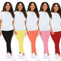 Artı Boyutu Yaz Kadın Siyah Kıyafetler Koşu Takımı Iki Parçalı Set Kısa Kollu T-shirt + Pantolon Rahat Beyaz Eşofman Beyaz Spor 3503