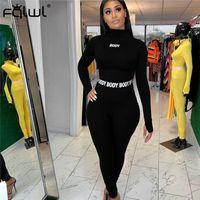 FQLWL 화이트 블랙 피트니스 2 종 세트 여성 정장 스포츠웨어 여름 복장 긴 소매 자르기 최고 레깅스 여성 운동복 여성 201007