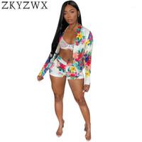Kadın Eşofman Zkyzwx Seksi İki Parçalı Set 2021 Yaz Sonbahar Uzun Kollu Suit Coat + Çiçek Baskı Şort Rahat 2 Eşleşen Kulübü Kıyafetler1