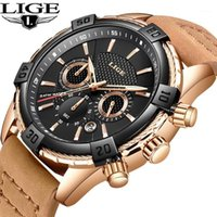 Armbanduhren Montre Homme 2021 Luxe de Marque Lige Sportuhr Leder Frostschutzmittel Wasserdichte Quarz Relogio Masculino + Box1